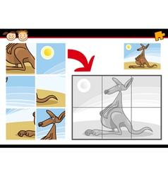 Cartoon kangaroo jigsaw puzzle game vector
