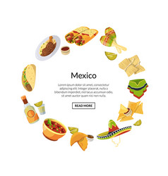 cartoon mexican food in circle shape with vector image