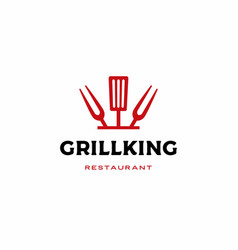 chef kitchen grill king spatula fork logo icon vector image