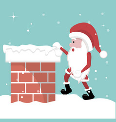 christmas card of santa claus entering the firepla vector image