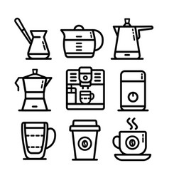 coffee outline icon set vector image