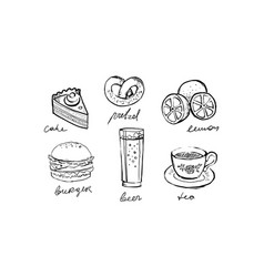 collection fast food dishes and drinks cake vector image