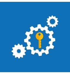 Collection gear security lock icon design blue vector