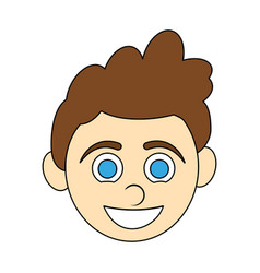 Colorful caricature front face boy with expressive vector