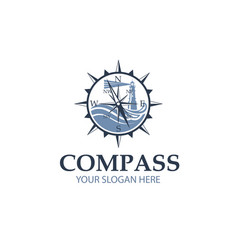 Compass with lighthouse vector