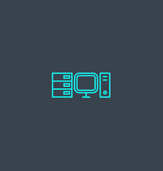 computing concept blue line icon simple thin vector image