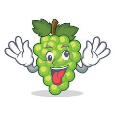 crazy green grapes mascot cartoon vector image