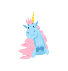 cute lovely magic unicorn character cartoon vector image