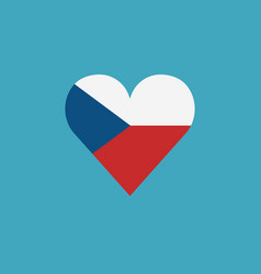 czech republic flag icon in a heart shape in flat vector image