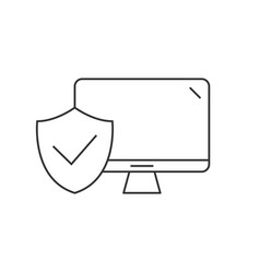 Desktop computer protected linear icon on white vector