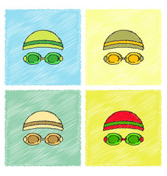 Diver swimmer equipment in hatching style vector