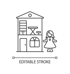 dollhouse pixel perfect linear icon vector image