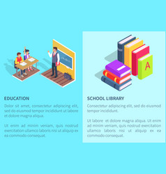 Education school library posters students and book vector