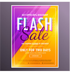 Flash sale banner template design with bright vector
