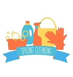 Flat design logo for cleaning service vector