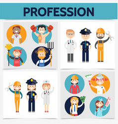 flat professions square concept vector image
