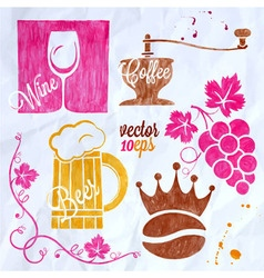 Food and drink watercolor set beer wine coffee vector
