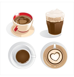 four cups of coffee vector image