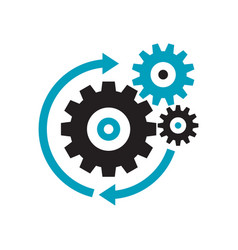 gears - black icon on white background vector image