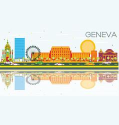 Geneva skyline with color buildings vector