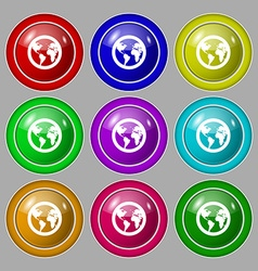 Globe icon sign symbol on nine round colourful vector image
