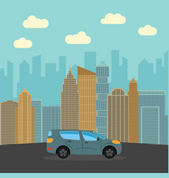 gray sports car in the city vector image