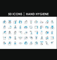 hand hygiene icon set half color half line style vector image