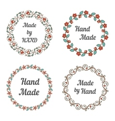 Handmade labels with wreaths vector