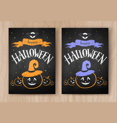Happy halloween postcards color chalked designs vector