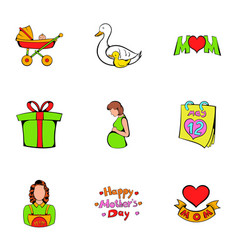 heart day icons set cartoon style vector image