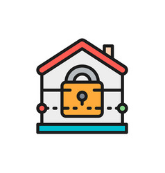 house with lock home security insurance flat vector image