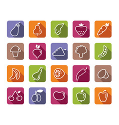 Icons fruit and vegetables vector