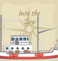 Into the sea poster with commercial ship vector