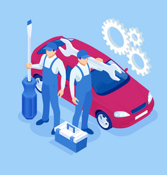 Isometric car maintenance vehicles diagnostics and vector