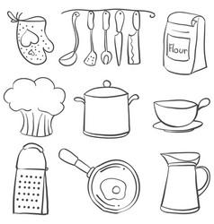 Kitchen equipment set doodle style vector