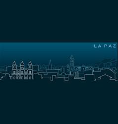 La paz multiple lines skyline and landmarks vector