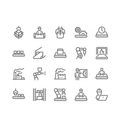 Line mass production icons vector