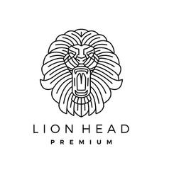 lion head monoline outline line art logo icon vector image