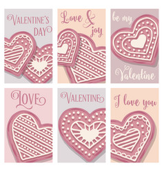 love card collection with pink heart cookies vector image