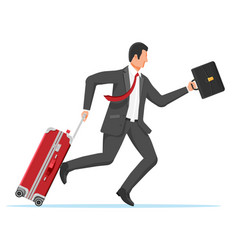 man with travel bag tourist with suitcase vector image