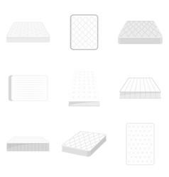 mattress squab bedding icons set flat style vector image