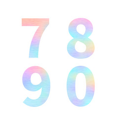 modern 7 8 9 0 letters with bright colorful vector image