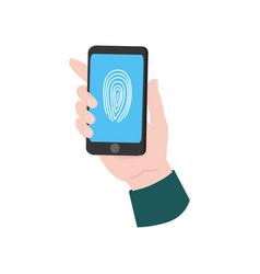 modern smartphone in human hand with fingerprint vector image