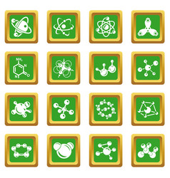 molecule icons set green square vector image