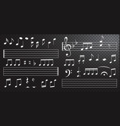 music notes and keys on black background piano vector image