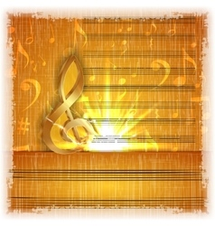 musical background with a gold treble clef vector image
