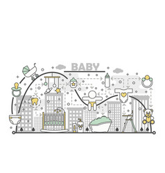 newborn baconcept flat line art vector image
