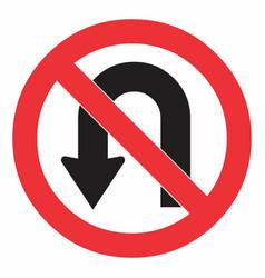 No u turn road sign vector