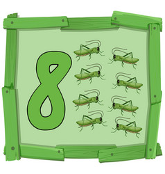 Number eight on wooden banner vector