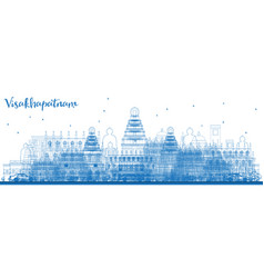 Outline visakhapatnam india skyline with blue vector